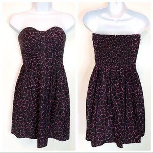 Parker black pink crackle print strapless dress XS